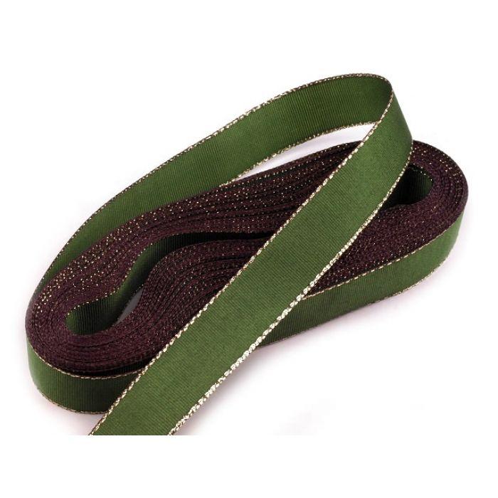 Лента зеленая тафтовая с люрексом, 15 мм для скрапбукинга