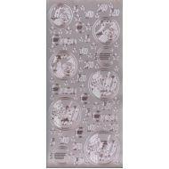 """Контурные наклейки """"Монеты евро"""", цвет серебро"""