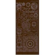 """Контурные наклейки """"Разные часы"""", цвет коричневый"""