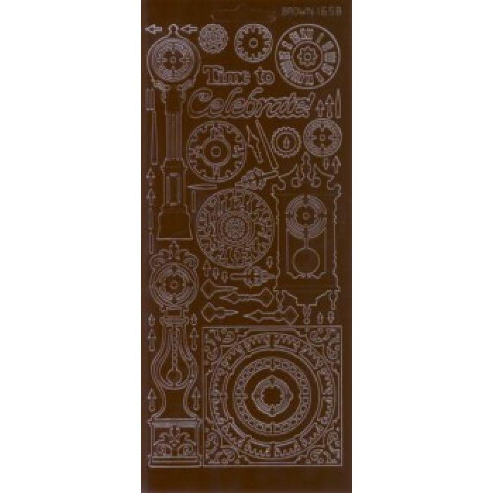 """Контурные наклейки """"Разные часы"""", цвет коричневый для скрапбукинга"""