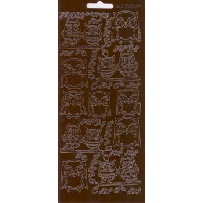 """Контурные наклейки """"Совушки"""", цвет коричневый для скрапбукинга"""