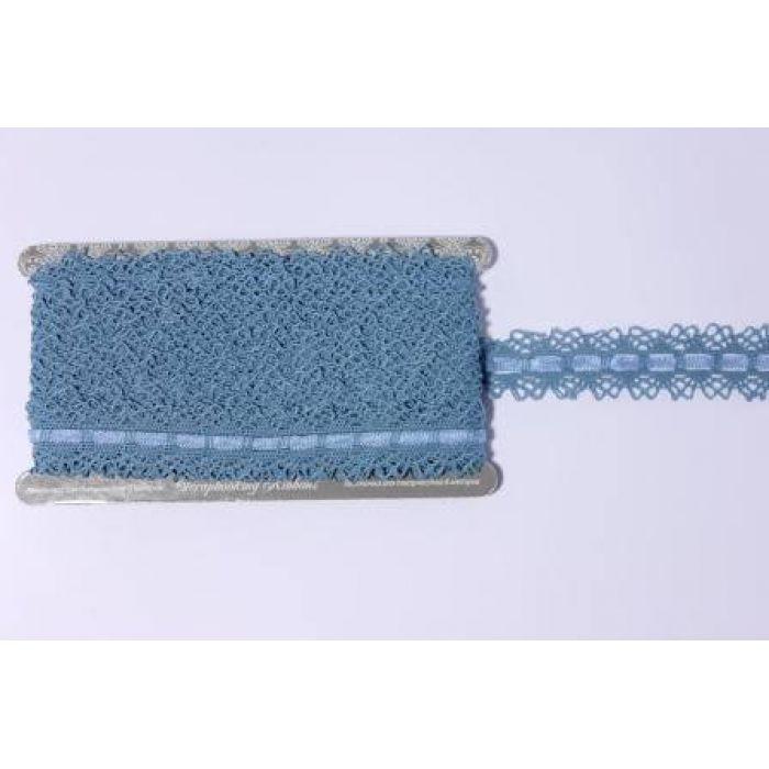 Синяя тесьма со сборкой (3 см) для скрапбукинга