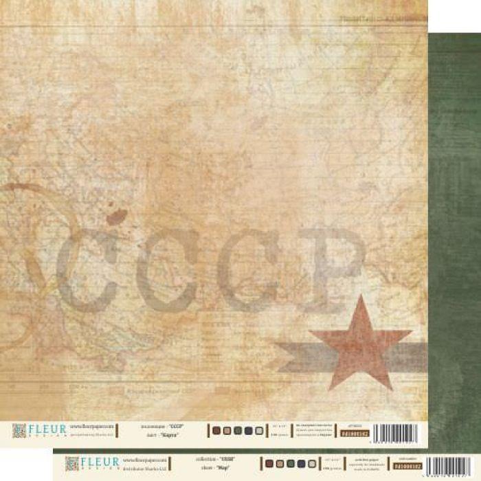 """Бумага Карта, коллекция """"СССР"""" для скрапбукинга"""