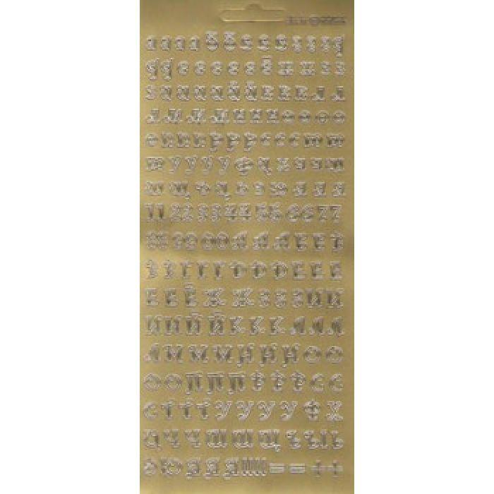 """Контурные наклейки """"Русский алфавит 2"""", цвет золото для скрапбукинга"""