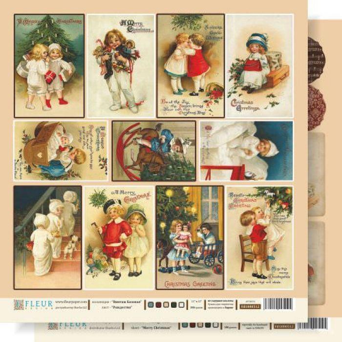"""Бумага Рождество, коллекция """"Винтаж Базовая"""" для скрапбукинга"""