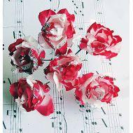 """Бумажный цветок """"Пион"""" с глиттером, бело-красный"""