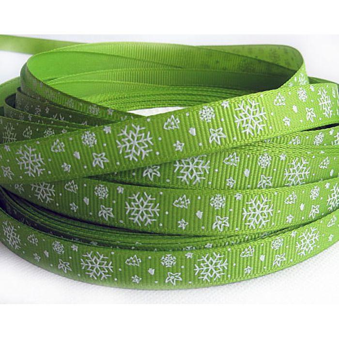 """Лента """"Снежинки"""", цвет - зеленый для скрапбукинга"""