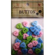Набор пуговиц Розовые, синие и зеленые сердечки