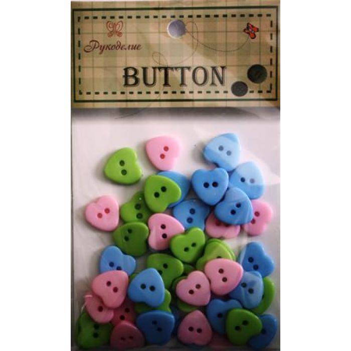 Набор пуговиц Розовые, синие и зеленые сердечки для скрапбукинга