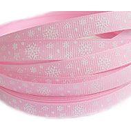 """Лента """"Снежинки"""", цвет - розовый"""