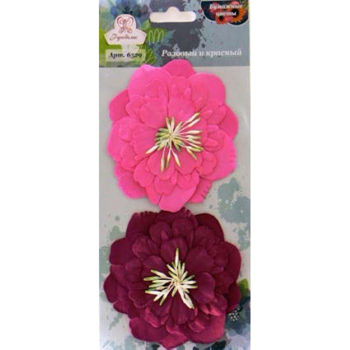 Цветы бумажные Розовый и красный для скрапбукинга