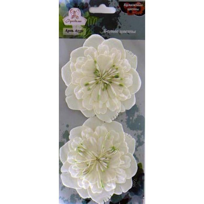 Цветы бумажные Белые для скрапбукинга