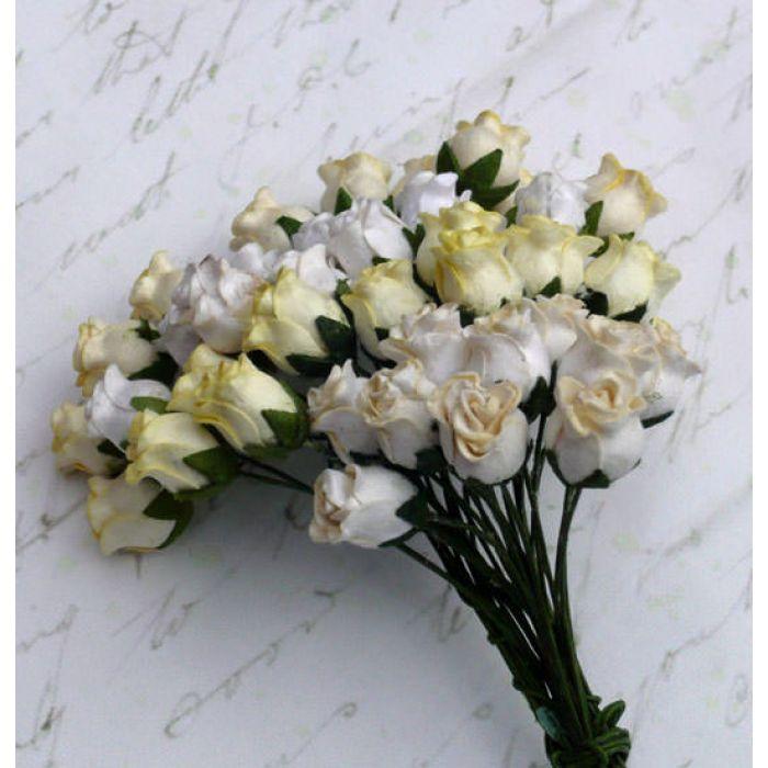 Бутоны роз бело-кремовые для скрапбукинга
