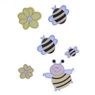 """Наклейки """"Пчелки и божьи коровки"""" желтые"""