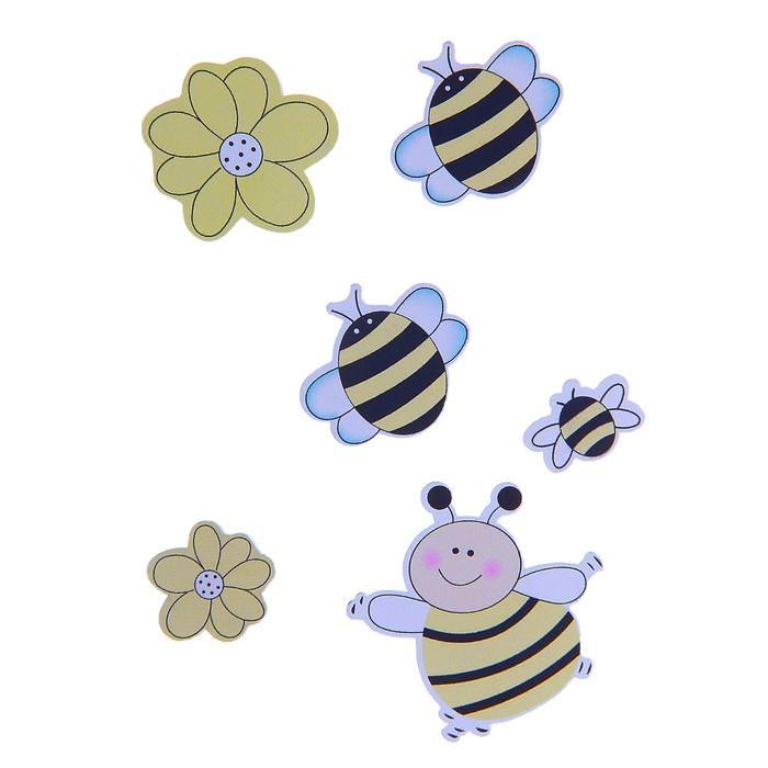 """Наклейки """"Пчелки и божьи коровки"""" желтые для скрапбукинга"""