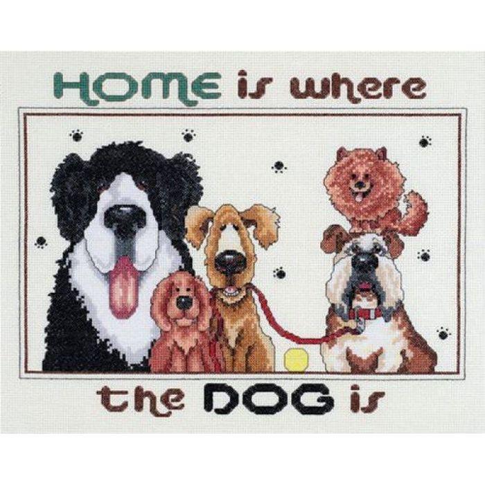 """Набор для вышивания  """"Дом там, где есть собака"""" для скрапбукинга"""