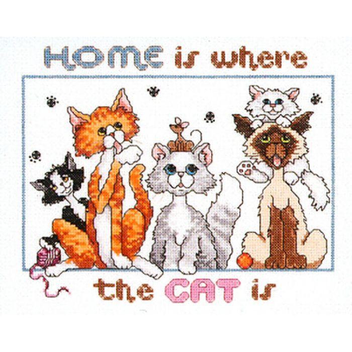 """Набор для вышивания """"Дом - это там, где коты"""" для скрапбукинга"""