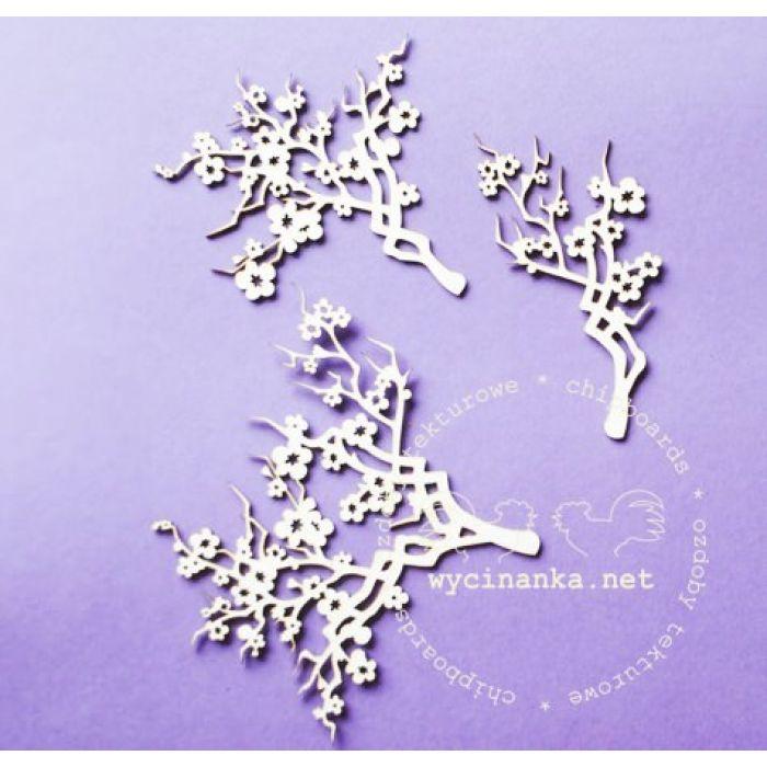 Чипборд Веточка цветущей вишни для скрапбукинга