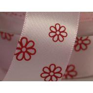 Лента сатиновая розовая с цветами