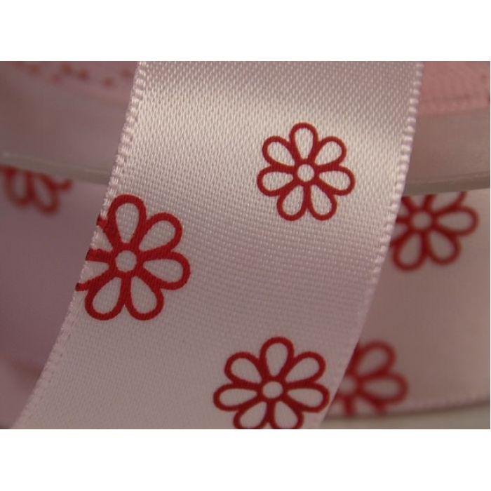 Лента сатиновая розовая с цветами для скрапбукинга