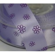 Лента сатиновая фиолетовая с цветами