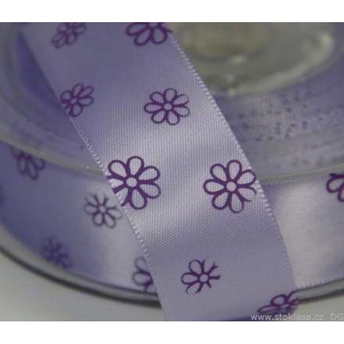 Лента сатиновая фиолетовая с цветами для скрапбукинга