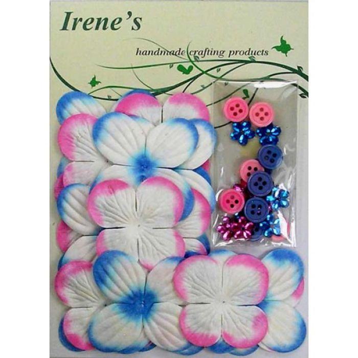 Набор цветов, бело-голубые и бело-розовые для скрапбукинга