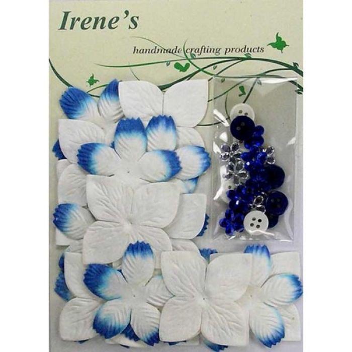 Набор цветов, бело-голубые для скрапбукинга