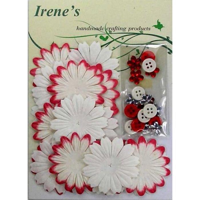 Набор цветов, бело-красные для скрапбукинга