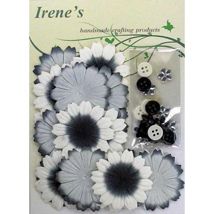 Набор цветов, бело-серо-черные для скрапбукинга