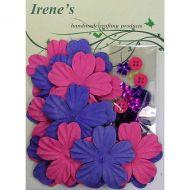 Набор цветов, розовые и лиловые