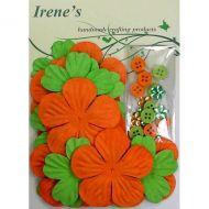 Набор цветов, зеленые и оранжевые