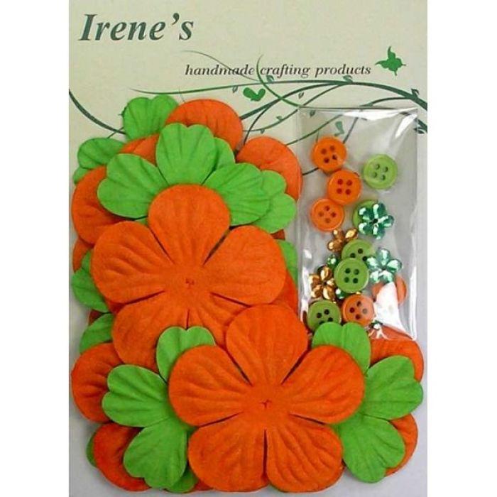 Набор цветов, зеленые и оранжевые для скрапбукинга