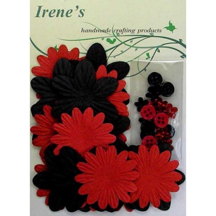 Набор цветов, красные и черные для скрапбукинга