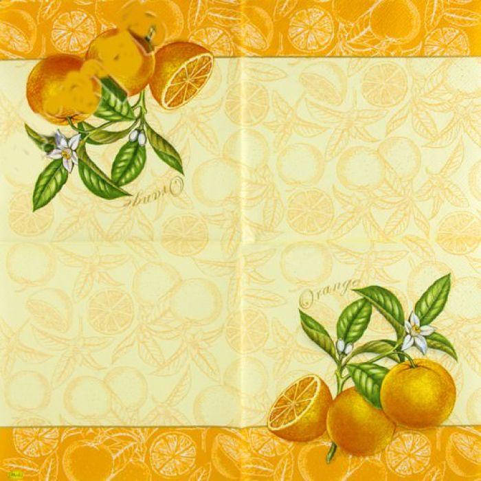 """Салфетка трехслойная """"Апельсин"""" для скрапбукинга"""