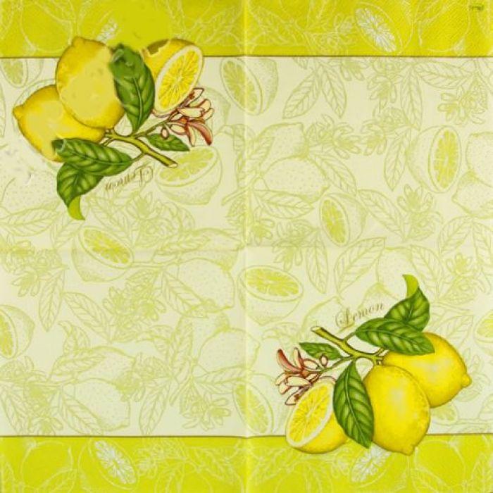 """Салфетка трехслойная """"Лимон"""" для скрапбукинга"""