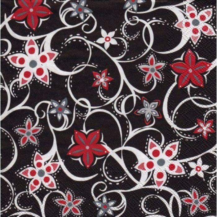 """Салфетка трехслойная """"Цветочный орнамент на черном"""" для скрапбукинга"""