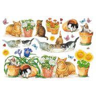 Бумага рисовая Кошки в саду