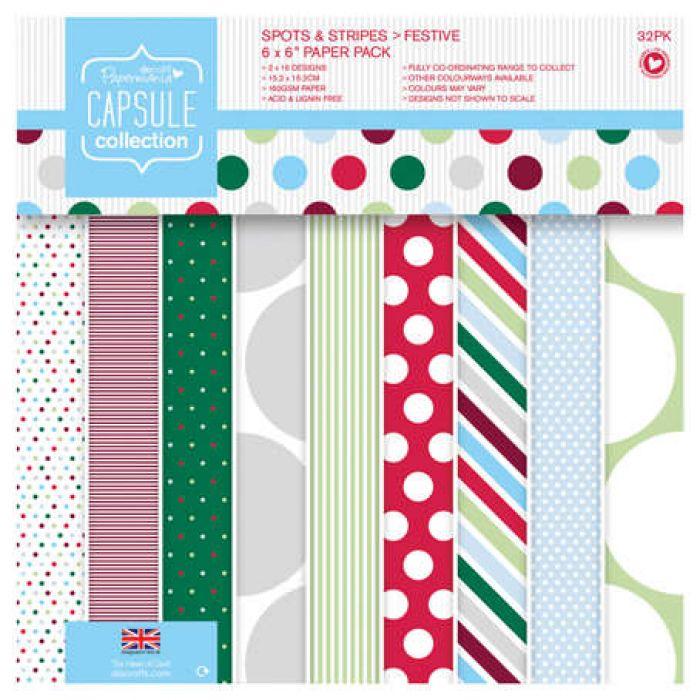 Набор бумаги Spots & Stripes Festive, 15 х 15 см для скрапбукинга