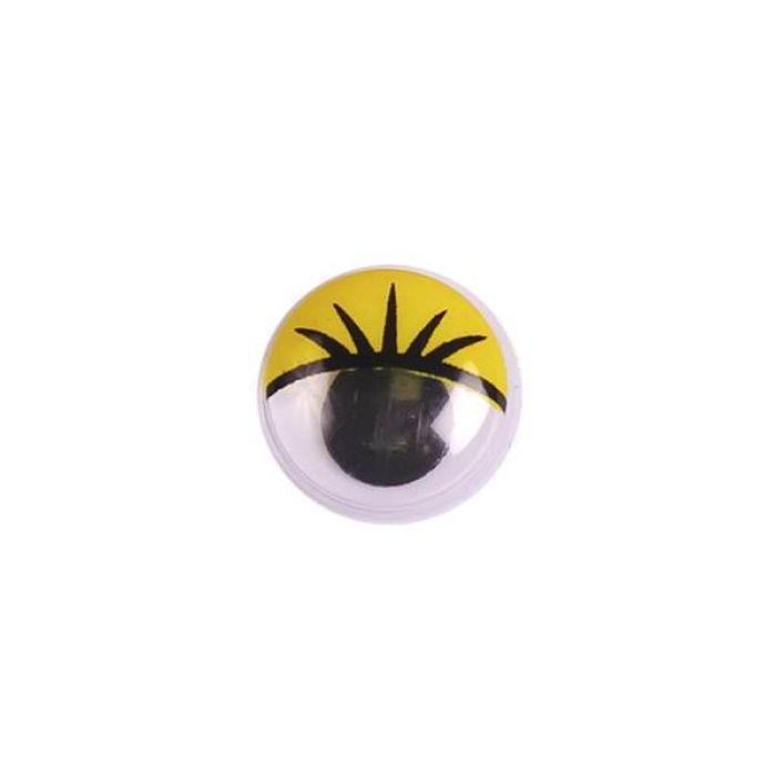 Глаза бегающие с ресницами желтые, 12 мм для скрапбукинга