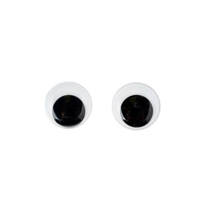 Глаза бегающие с ресницами черные, 12 мм для скрапбукинга