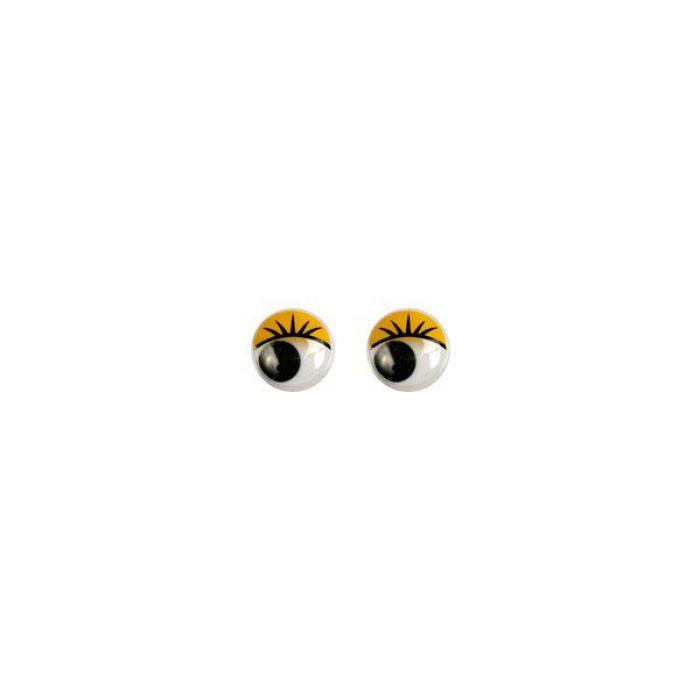 Глаза бегающие клеевые с ресницами желтые, 6мм для скрапбукинга