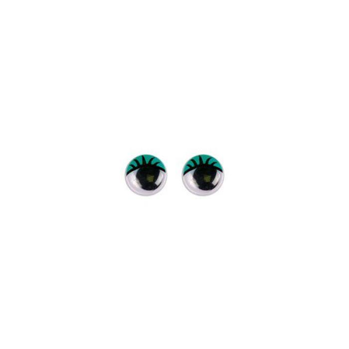 Глаза бегающие клеевые с ресницами зеленые, 6 мм для скрапбукинга