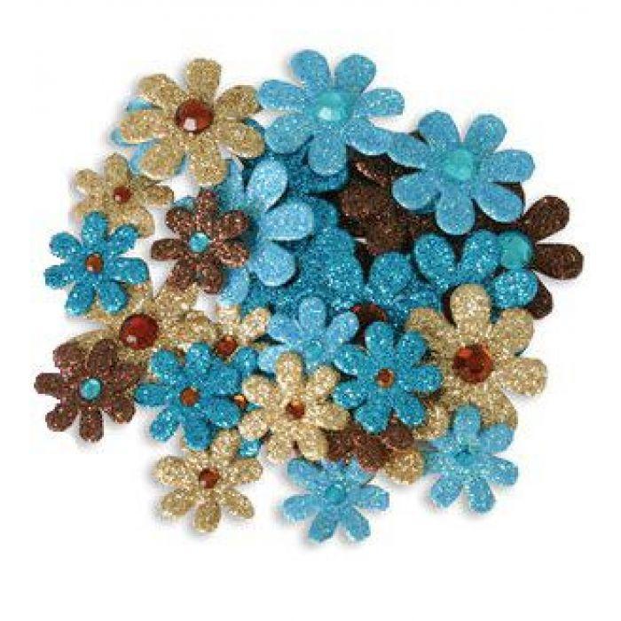 Набор цветов с глиттером коричневые, песочные, голубые, морской волны для скрапбукинга