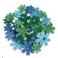 Набор цветов с глиттером синие, бирюзовые, зеленые, салатовые