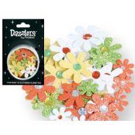 Набор цветов с глиттером желтые, белые, зеленые, оранжевые