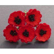 Цветы мака красные, 20 мм