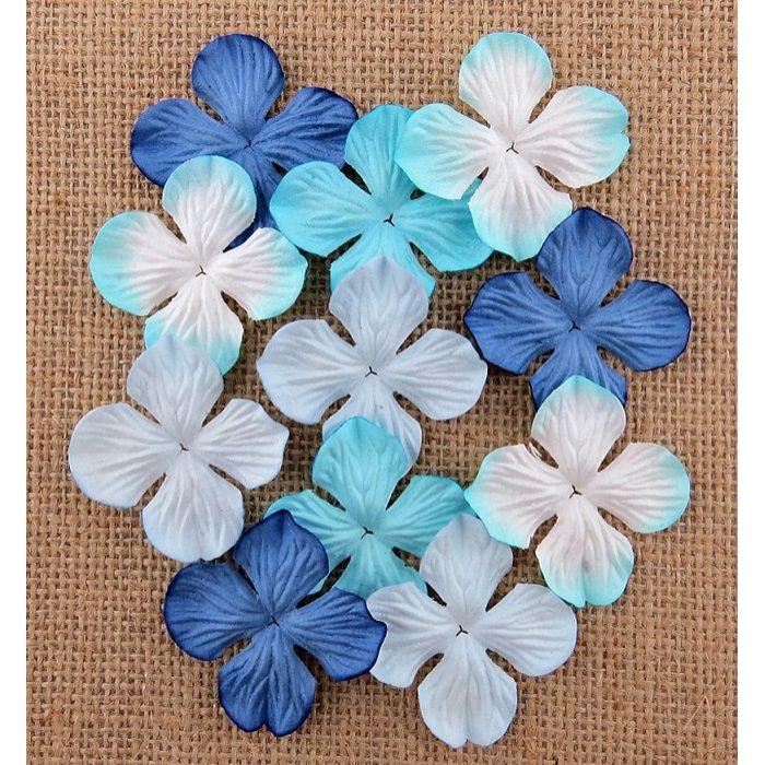 Гортензии голубые оттенки, 50 мм для скрапбукинга