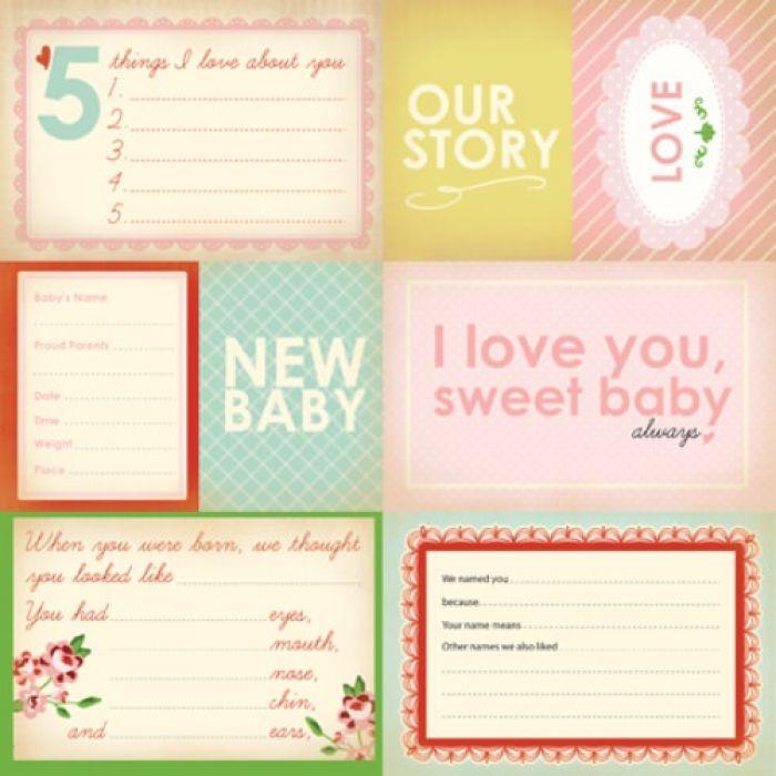 Бумага Our Story, коллекция Baby Mine Girl для скрапбукинга