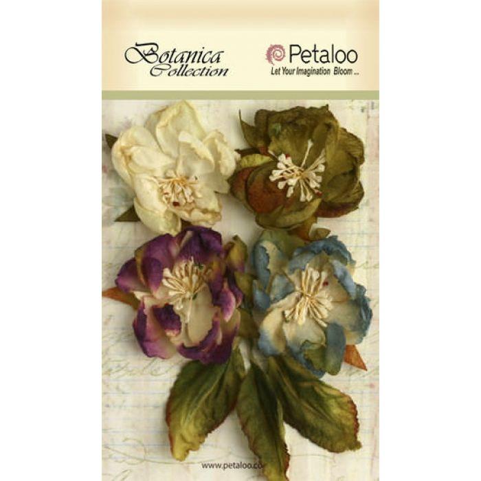 Набор цветов Ботаника серо-голубые/фиолетовые/зеленые для скрапбукинга